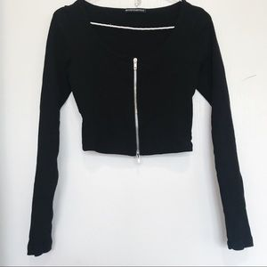 Brandy Melville zipper down long sleeve crop top